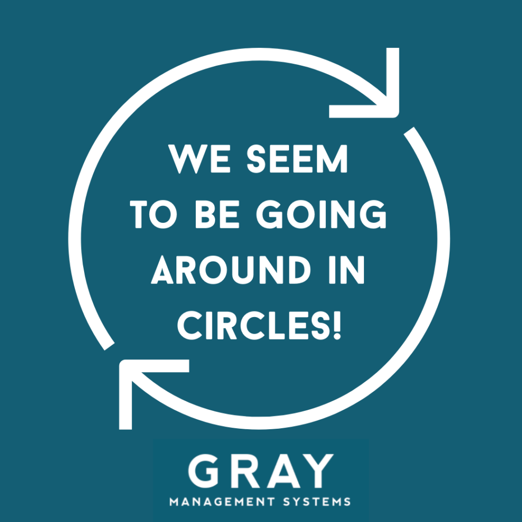 Image of circle with words ' we seem to be going around in circles'